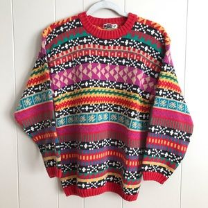 One Step Up Vintage Colorful Abstract Knit Sweater